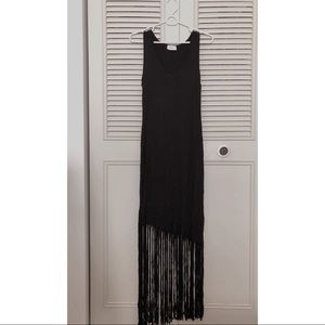 Poetry black tassel vest dress